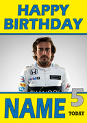 Personalised Fernando Alonso Birthday Card