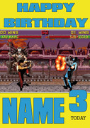Retro Gaming Mortal Kombat Personalised Card