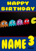 Retro Gaming Pacaman Ghosts Personalised Card