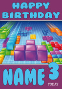 Retro Gaming Tetris Personalised Card