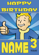 Retro Gaming Vault boy Personalised Card