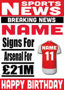 Signed for Arsenal Personalised Card