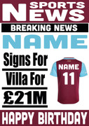 Signed for Aston Villa Personalised Card