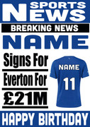 Signed For Everton Personalised Card