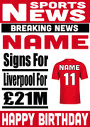 Signed For Liverpool Personalised Card