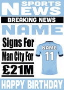 Signed for Man City Personalised Card