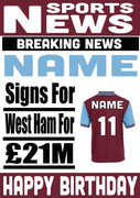 Signed for West Ham Personalised Card