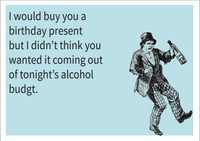 Alcohol budget Personalised Birthday Card