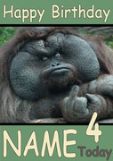 Ape giving middle finger Personalised Birthday Card