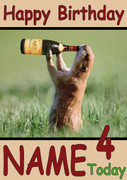 Beaver Drinking From Bottle Personalised Birthday Card