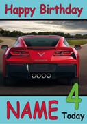 Red Corvette Rear Personalised Birthday Card