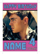 Zac Effrom Pose Personalised Birthday Card