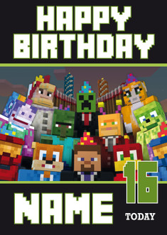 Minecraft new design 3 personalised birthday card celebrity image 1 bookmarktalkfo Image collections