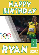 Olympics NEW 2 Birthday Usain Bolt Card
