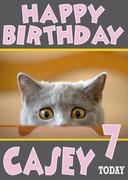 Kitten Big Yellow Eyes Birthday Card