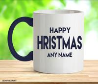 Adult Happy Christmas Blue Rude Mug