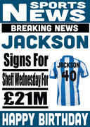 Signed for Sheffield Wednesday Personalised Card