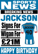 Signed for Wigan Personalised Card