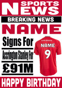 Signed for Accrington Stanley Personalised Card
