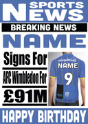 Signed for AFC Wimbledon Personalised Card