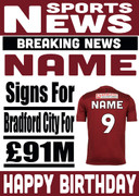 Signed for Bradford City Personalised Card