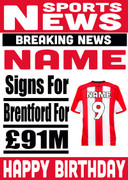 Signed for Brentford Personalised Card