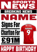 Signed for Charlton Personalised Card