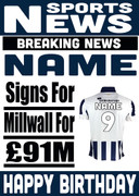 Signed for Millwall Personalised Card