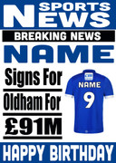 Signed for Oldham Personalised Card