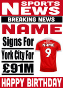 Signed for York City Personalised Card