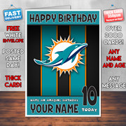 MIAMI DOLPHINS 1 SJ Personalised Birthday Card