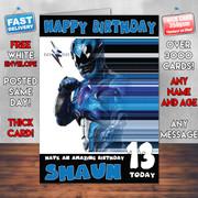 PowerRangers Blue Personalised Birthday Card
