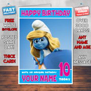 SMURFS 2 BM1 Personalised Birthday Card