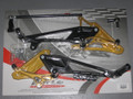 HONDA HORNET 600 2007 ON  REARSETS TYPE 2 BLACK AND GOLD VALTERMOTO