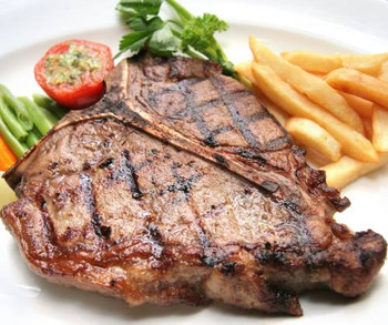 Gourmet T-Bone Steaks - Our hefty, naturally-aged T-bone steaks make a wonderful treat for the big-steak lover. But, in many families one makes a meal for two: Dad eats the 'strip steak' side while Mom enjoys the tender filet.