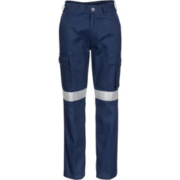 3323 Ladies Cotton Drill Cargo Pants with 3M Reflective Tape