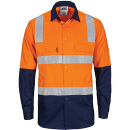 3747 HIVIS Two Tone Cool-Breeze Cotton Shirt with Hoop & Shoulder CSR Reflective Tape - Long Sleeve