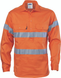 3848 - HiVis Close Front Cotton Drill Shirt with 3M R/Tape