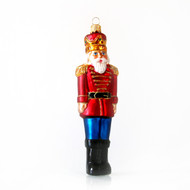 Red nutcracker handcrafted glass Christmas ornament