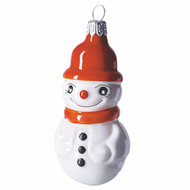 Handcrafted Christmas ornament Snowman with Orange Hat Ornament