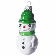 Snowman with green hat. Hand crafted Christmas ornament  made of glass. Mouth-blown and hand-painted.
