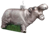 Hippo handcrafted glass Christmas ornament by GLASSOR