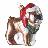 American Bulldog Christmas ornament made of glass. Mouth-blown and hand-painted.