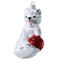 White-Grey Cat with Red Wool Ball Ornament, mouth-blown and hand painted.