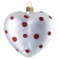 Silver Heart With Red Polka Dots Christmas Ornament, Hand-made glass ornament, mouth-blown and hand-painted.