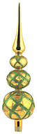 Gold treetopper with green diamond pattern handcrafted glass Christmas ornament by GLASSOR