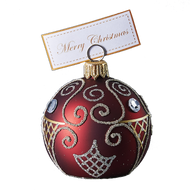 Hand crafted Christmas ornament Ruby cardholder with gold design work