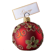 Hand crafted Christmas ornament Red cardholder with gold daisies - large