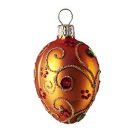 Hand crafted Christmas/Easter ornament Jeweled orange oval