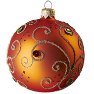 Hand crafted Christmas ornament Jeweled orange ball - large